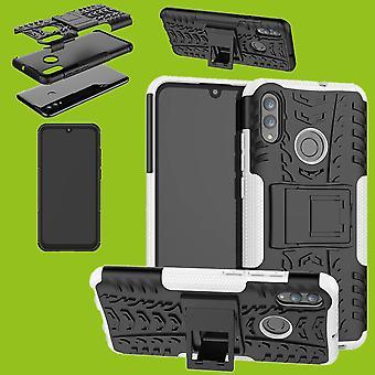 For Huawei P smart og Plus 2019 hybrid veske 2-delt utendørs hvit pose deksel beskyttelse