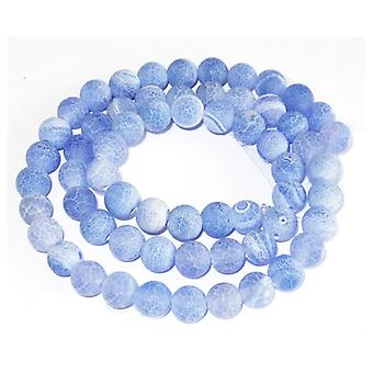 Strand 62+ Blue Frosted Cracked Agate 6mm Plain Round Beads GS0274-1