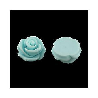 Pakke 10 x lyseblå harpiks fladt tilbage 24mm blomst 7.5mm tyk Cabochon Y04230