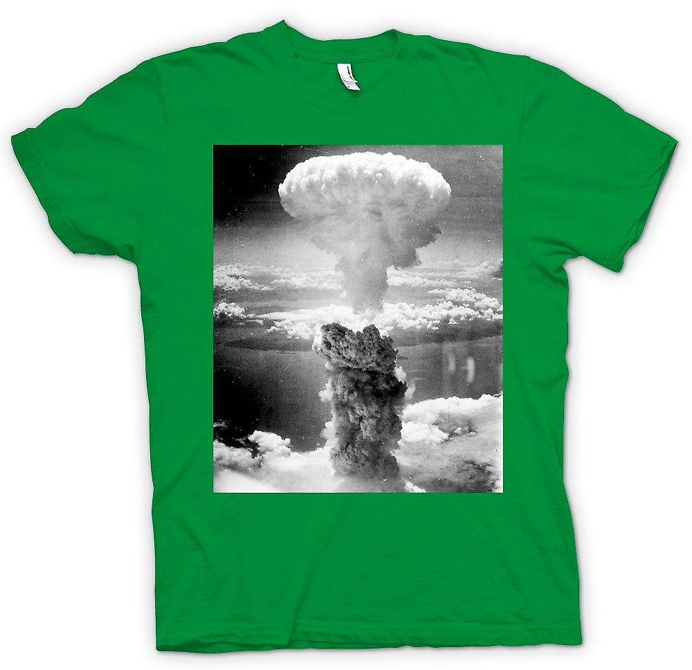 Mens T-shirt - Nuclear Mushroom Cloud  And White