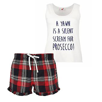 A Yawn Is A Silent Scream For Prosecco Ladies Tartan Frill Short Pyjama Set Red Blue or Green Blue
