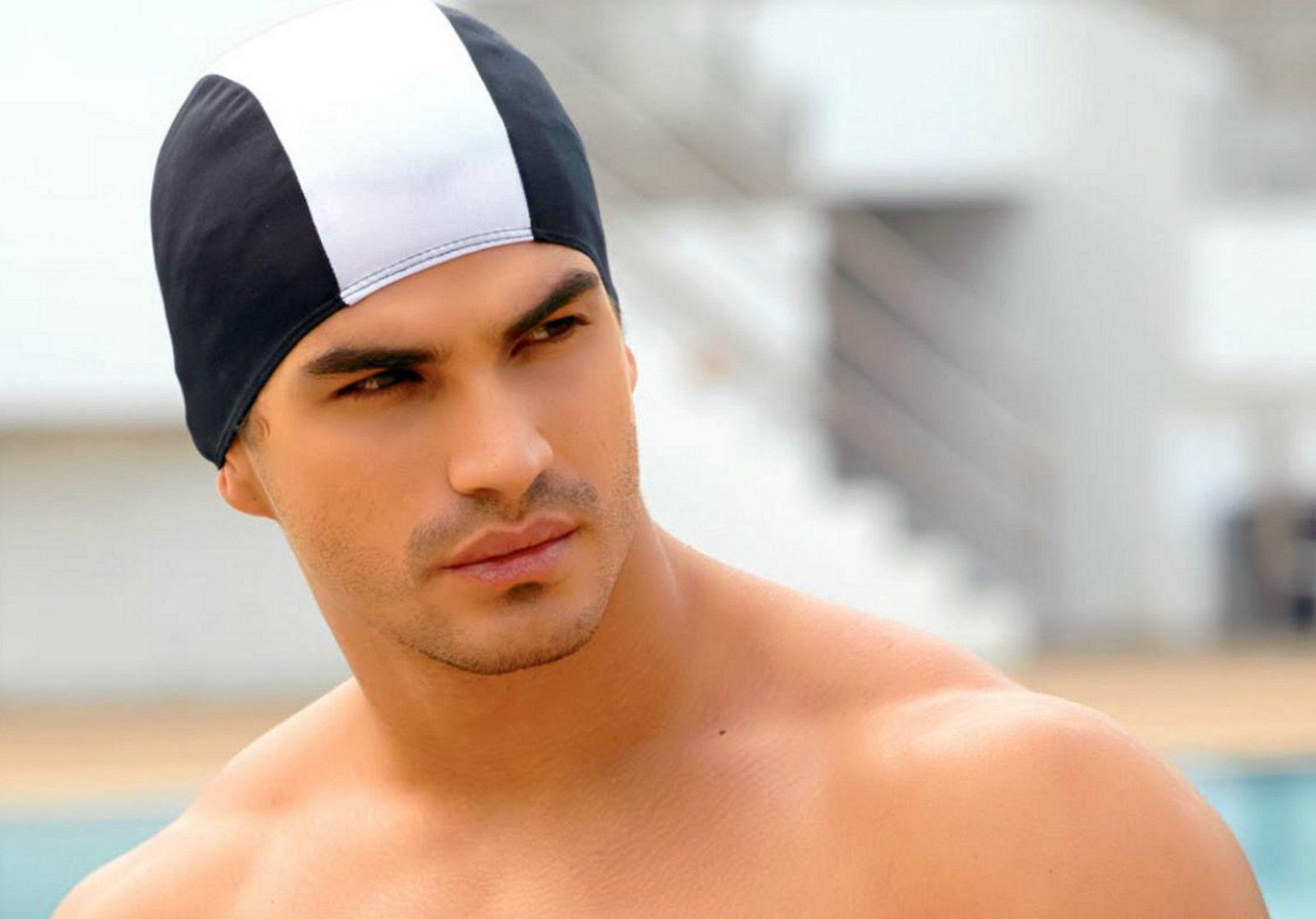 BECO 100% Polyester Fabric Adults Swim Cap-Black/White
