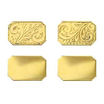 18ct Gold 18x12mm cut corner hand engraved chain Cufflinks