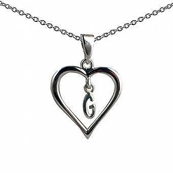 18x18mm G inicial en un corazón colgante con un rolo cadena 20 pulgadas de plata