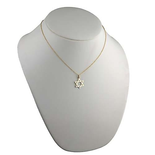 9ct Gold 21x17mm plain Star of David Pendant with a cable Chain 18 inches