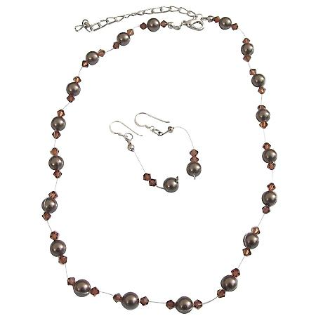 Chocolate Pearls Jewelry Set Bridal Bridesmaid Dark Chocolate Brown Pearls & Smoked Topaz Crystals Wedding Jewelry Set