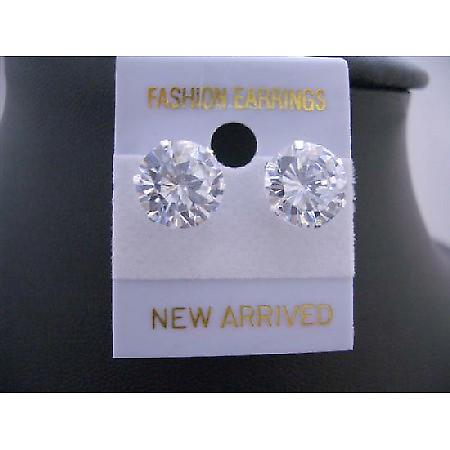 Round Simulated Diamond Stud Earrings 10mm Sterling Silver Earrings