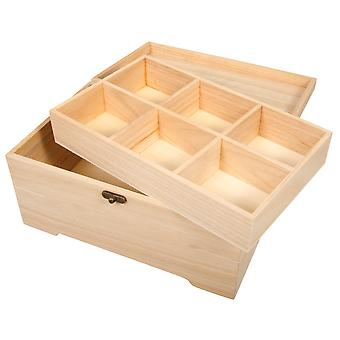 Wood Casket or Chest with Internal Tray to Decorate | Wooden Shapes for Crafts