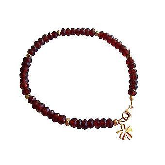 Gemshine - damer - armbånd - gullbelagt - Garnet - mørk rød - rød - fasettert