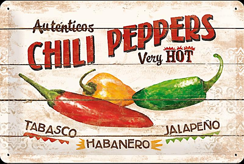 Chili Peppers embossed steel sign   (na 3020)