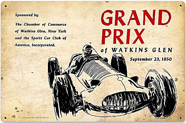 Grand Prix at Watkins Glen 1950 rusted metal sign (pst 1812)