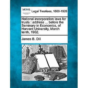 信頼のアドレスの国家の結合の法律.前に経済学のハーバード大学 1902 年 3 月 10 日の神学校。ディル ・ ジェームズ B によって