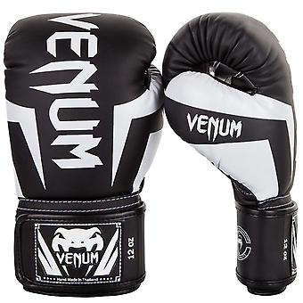 Venum Elite Hook and Loop MMA Training Boxing Gloves - Black/White