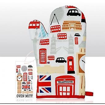 Union Jack porter des icônes de Londres four Mitt avec Pack gratuit de serviettes de table