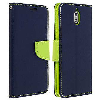 Fancy style cover, wallet case with stand for Nokia 3.1 - Dark blue