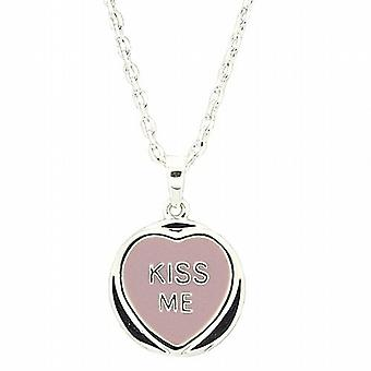Genuine Licensed Love Hearts 'Kiss Me' Lilac Sweet Pendant On 18 Inch Chain