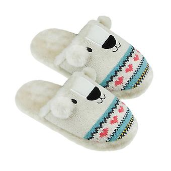 Ladies Aroma Home Polar Bear Knitted Animal Slippers