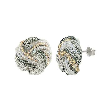 Eternal Collection Chiffon Murano Glass Torsade Pierced Earrings