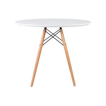 Fusion Living Eiffel inspiriert medium weiß runden Esstisch mit Buche Holz Beine