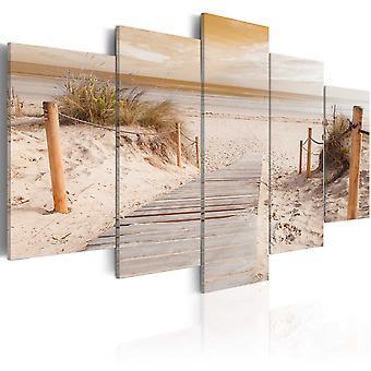 Lærred print-morgen på stranden-Sepia