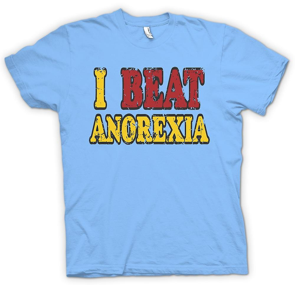Mens T-shirt - I Beat Anorexia - Funny