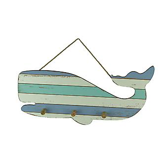 Blue and White Striped Wood Whale Wall Hook Rack