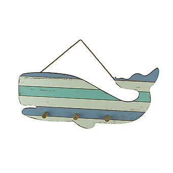 Blauw en wit gestreepte houten walvis muur haak rack