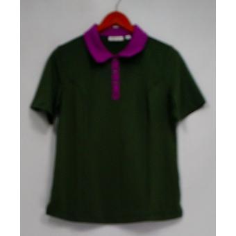 Denim & Co. Active Polo Shirt w/ Contrast Trim Gray A268240