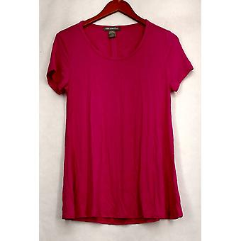 Kate & Mallory Top Short Sleeve Scoop Neckline Cut Out Tie Back Pink A432243