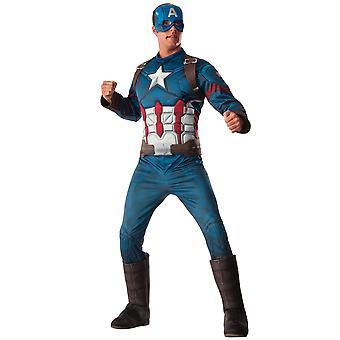 Costume de Captain America Deluxe Muscle Vengeurs guerre civile Marvel Super héros Mens