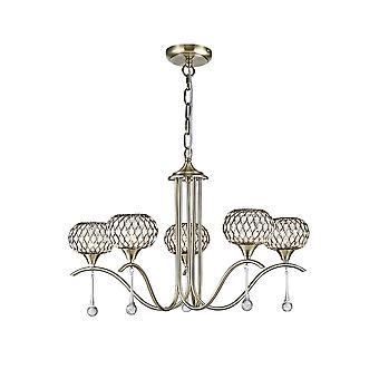 Diyas Chelsie Pendant 5 Light Antique Brass/Clear Glass