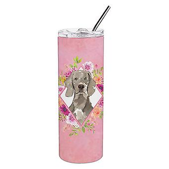 Weimaraner Pink Flowers Double Walled Stainless Steel 20 oz Skinny Tumbler