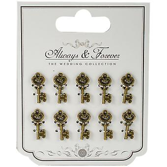 Craft Consortium Always & Forever Metal Key Charms 10/Pkg-Small AFMCHRM1