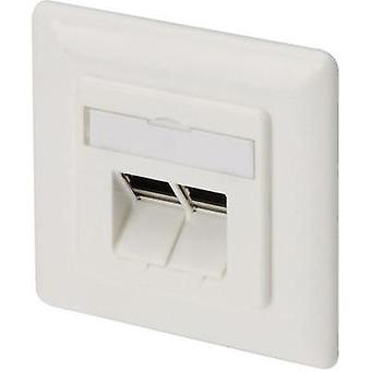 Network outlet Flush mount Insert with main panel and frame CAT 6A 2 ports Digitus Professional DN-9007 Pure white