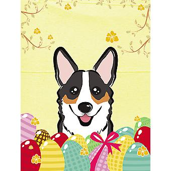 Tricolor Corgi Easter Egg Hunt Flag Canvas House Size BB1937CHF