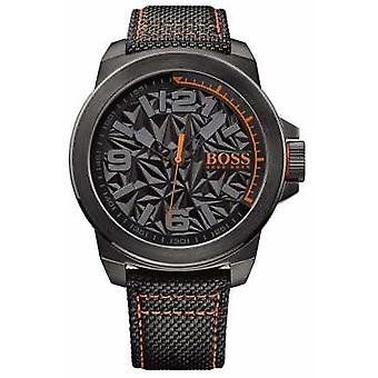 Hugo Boss Orange heren zwart verzinkt riem grijs patroon Dial 1513343 Watch