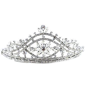 Bridal hårtillbehör Silver & Crystal Spiral & Aster blomma Crown Tiara