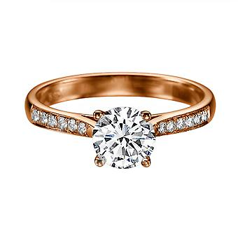 14K Rose Gold 1.12 CTW 6.50MM Forever One Moissanite Engagement Ring with Diamonds Channel Set