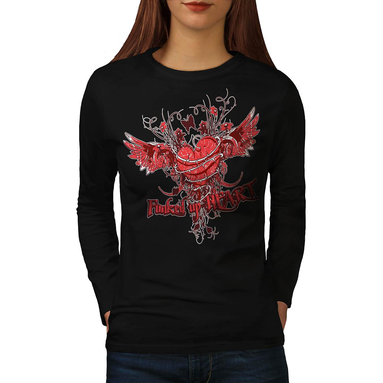Funked Up Heart Love Thorn Rose Women Black Long Sleeve T-shirt | Wellcoda