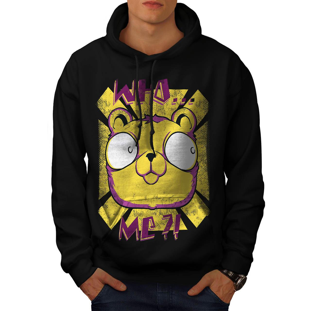 Who Me? Cute Bear Fashion Men Black Hoodie | Wellcoda
