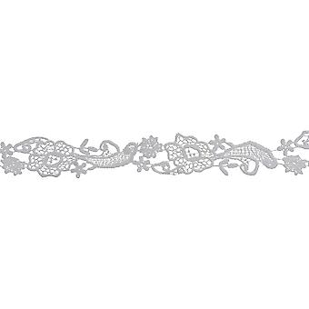 Daisy Floral Spray Venice Lace Trim 1-1/2