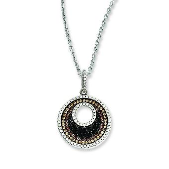 Sterling Silver Pave Rhodium-plated Lobster Claw Closure and Cubic Zirconia Brilliant Embers Circle Necklace - 18 Inch