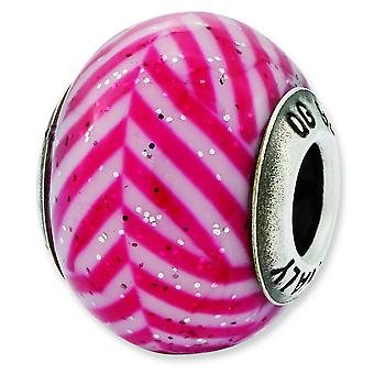Sterling Silver Reflections Italian Pink Stripes With Glitter Glass Bead Charm