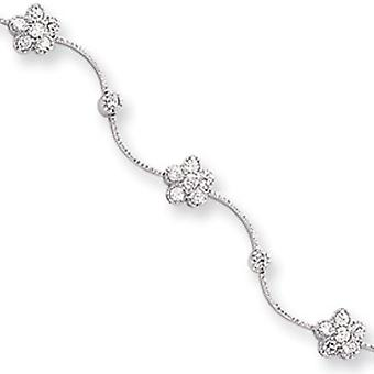 Box Catch Closure Rhodium-plated Cubic Zirconia Flower Wave Bracelet - 8.25 Inch