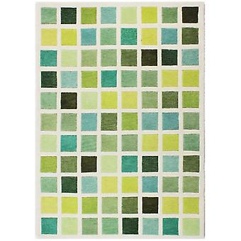 Modern Green & Cream Geometric Wool Rug - Illusion