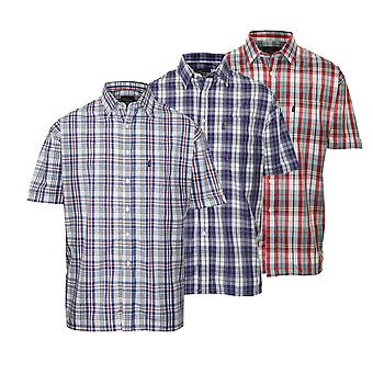 Pack of 3 Mens Champion Country Style Casual Check Short Sleeved Shirt