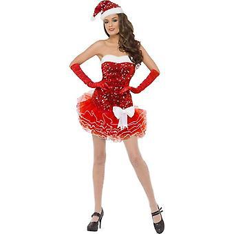 Santa dress ladies glitter dress and hat costume sexy Christmas Gr. M