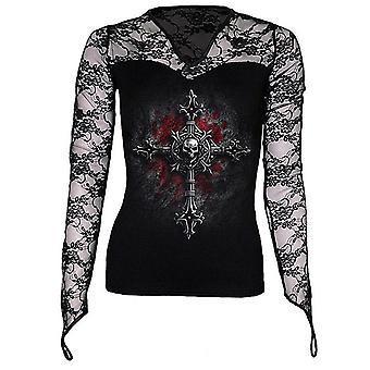 Spiraal-vamp tanden-Womens-Lace nek Goth top zwart