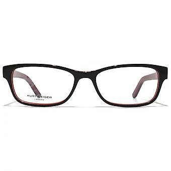 Kurt Geiger Sienna Petite Rectangular Acetate Glasses In Black With Red Interior