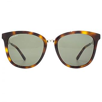 Gucci Metal Bridge Peaked Square Sunglasses In Havana Ruthenium